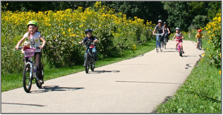 Family on Bike Trail in Fitchburg